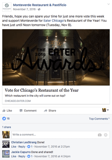 Monteverde Restaurant facebook marketing