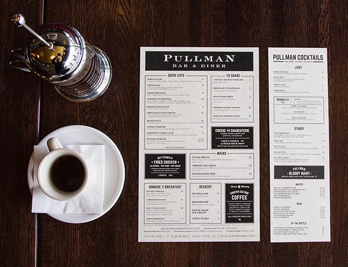 minimalist restaurant menu
