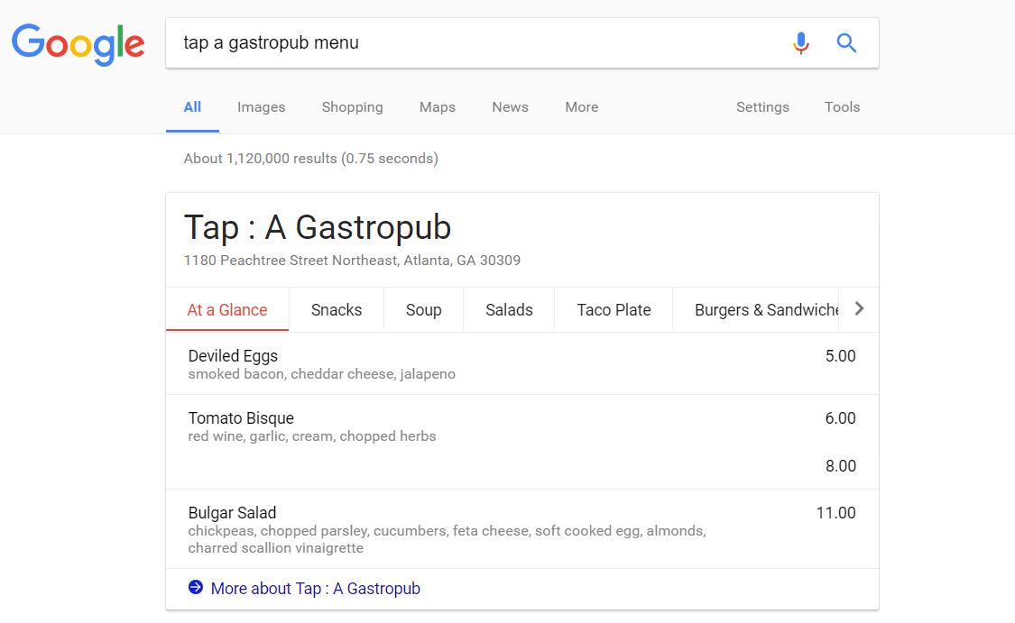 restaurant menu online