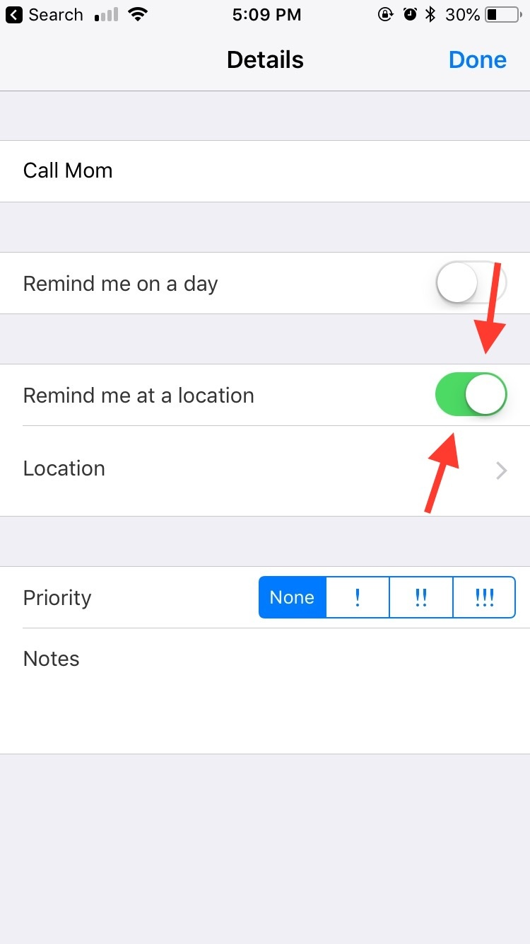 location based reminders iphone