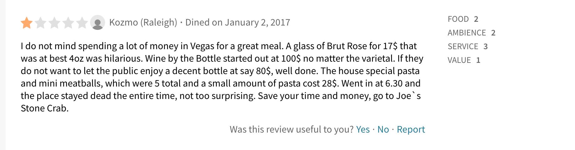 bad restaurant reviews