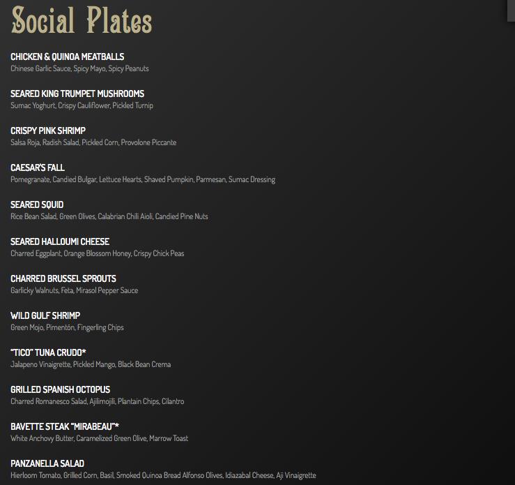 restaurnat menu ideas