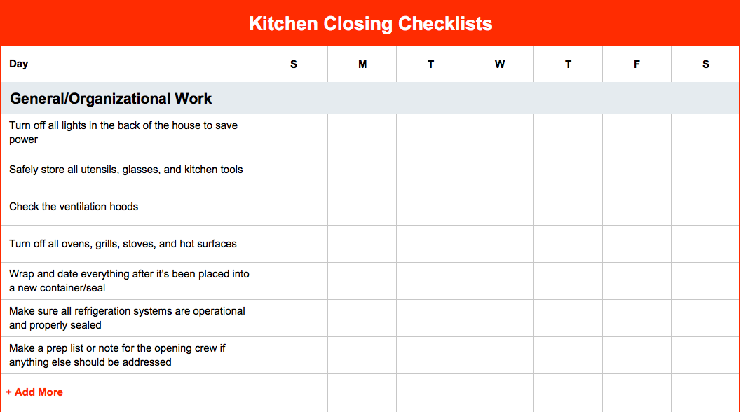 kitchen closing checklist