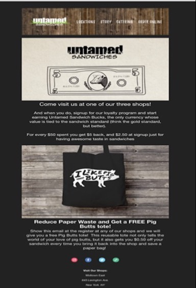 untamed sandwich loyalty program email