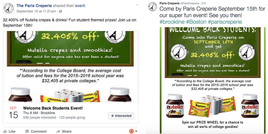 facebook and twitter for restaurants