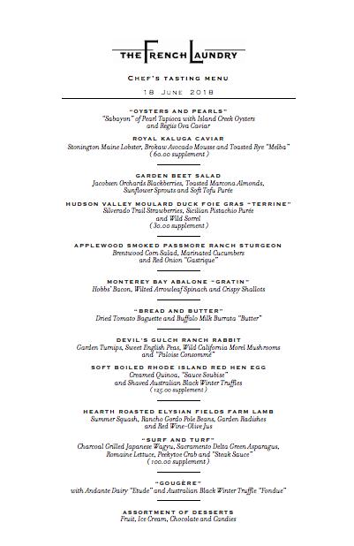restaurant prix fixe menu
