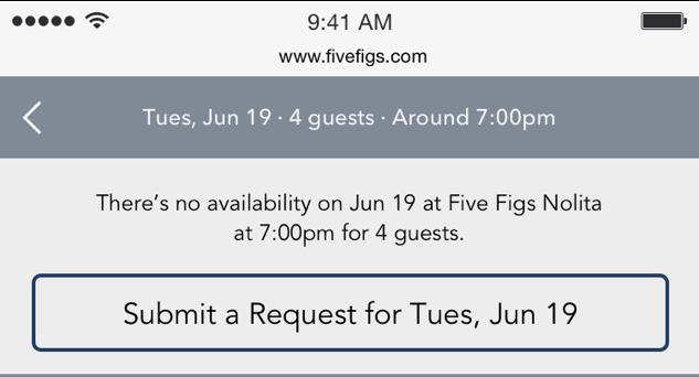 restaurant reservation request